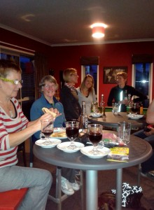 What us women do best....chatting together while wining and dining!
