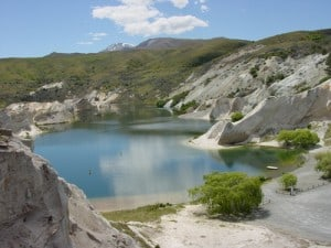 The stunning lake at St Bathans.