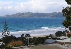 Over looking Onetangi Beach.