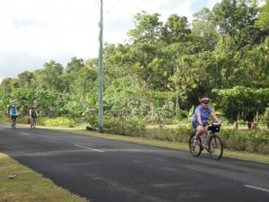 Cycling up hot jungle roads.