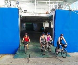 Biking off the ferry and off to our accommodation just 2km away at Lusia's Lagoon Chalets.