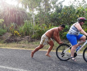 Getting a bit of Samoan manpower to push us up those hills!