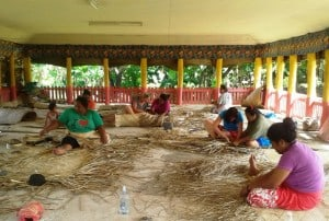 We were shown how to weave the flax ....