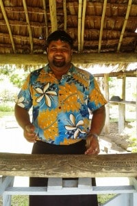 Our van driver, Alacosi, plays the Samoan drums for us.