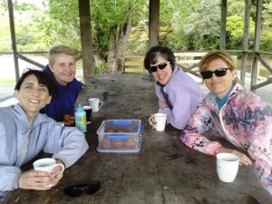 Enjoying tea, coffee and muffins at the end of our adventure.