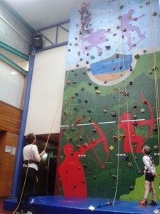 Indoor rock wall climbing at Birkenhead.  We had the whole place to ourselves!